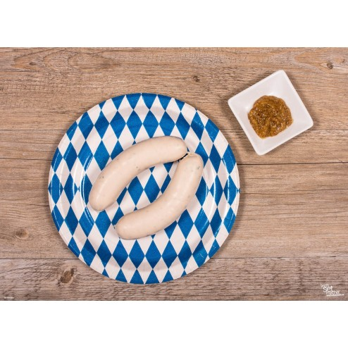 Deftige Weißwurst - Tischset aus Papier 44 x 32 cm