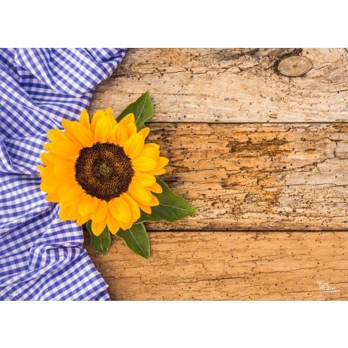 Tischset   Platzset - Sonnenblume auf rustikalem Holztisch - aus Papier - 44 x 32 cm