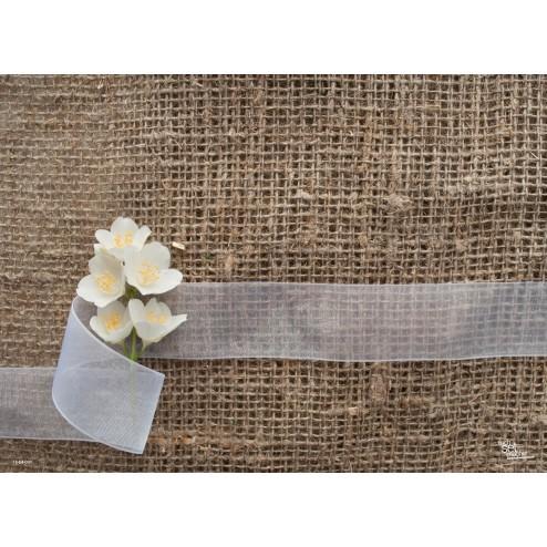 Weiße Blümchen - Tischset aus Papier 44 x 32 cm