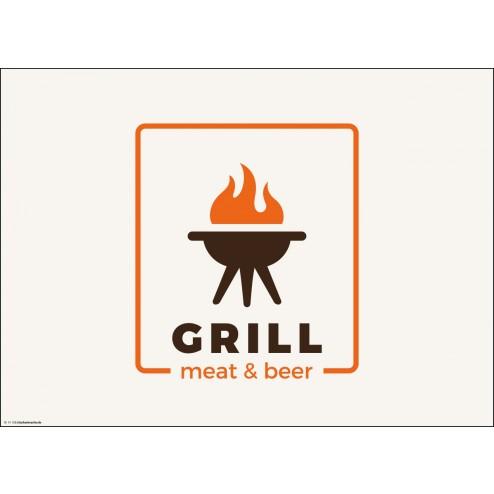 GRILL meat & beer - Tischset aus Papier 44 x 32 cm