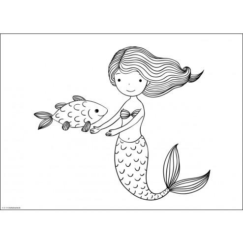 Meerjungfrau  - Tischset aus Papier 44 x 32 cm
