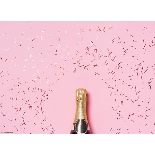 Sektflaschenhals mit pinkfarbenem Hintergrund  - Tischset aus Papier 44 x 32 cm
