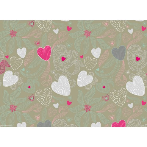 Muster aus Herzen & Blumen - Tischset aus Papier 44 x 32 cm