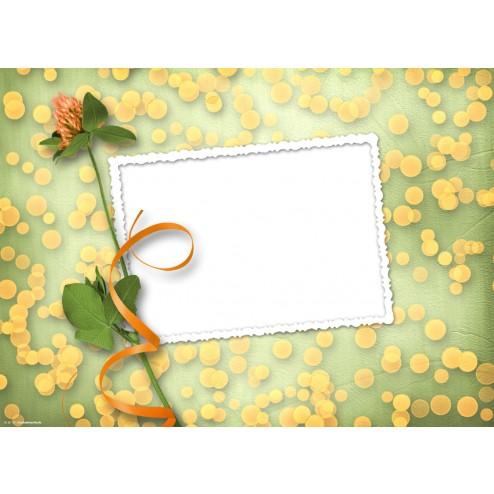 """Weisser Rahmen """"Brief"""" mit orange-grünem Hintergrund und Blume - Tischset aus Papier 44 x 32 cm"""