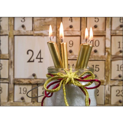 Goldene Kerzen vor Adventskalender- Tischset aus Papier 44 x 32 cm