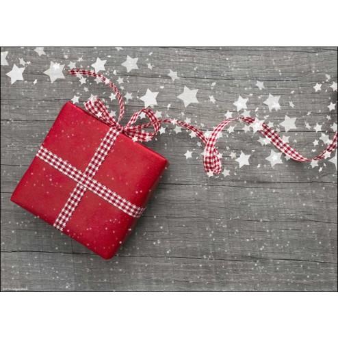 Rotes Weihnachtspäckchen mit Schleife und Sternen - Tischset aus Papier 44 x 32 cm