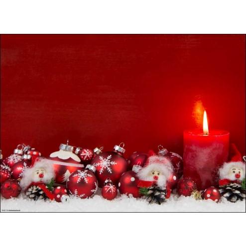 Weihnachtliches Arrangement in rot-weiß - Tischset aus Papier 44 x 32 cm