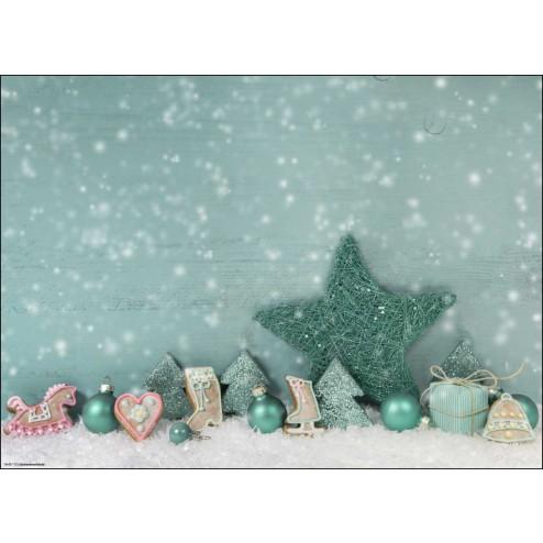 Weihnachtliches Arrangement in Pastellfarben - Tischset aus Papier 44 x 32 cm