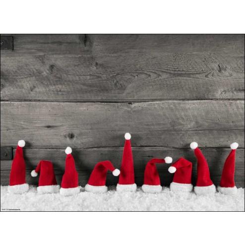 Weihnachtliches Arrangement aus roten Zipfelmützen im Schnee - Tischset aus Papier 44 x 32 cm