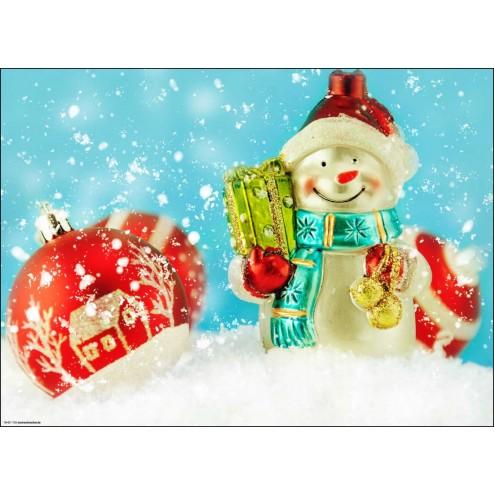 Fröhlicher Schneemann mit Geschenkpaket und Christbaumkugeln - Tischset aus Papier 44 x 32 cm