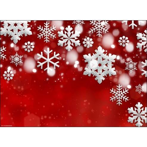 Weihnachtsmotiv in rot-weiß mit Schneekristallen - Tischset aus Papier 44 x 32 cm