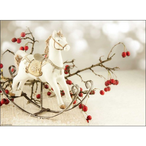 Weihnachtliches Motiv mit Schaukelpferdchen und Zweigen - Tischset aus Papier 44 x 32 cm