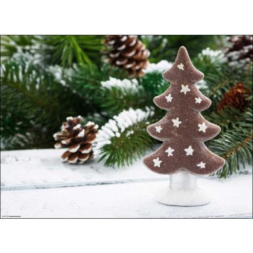 Weihnachtliches Motiv mit Tannenbäumchen und verschneiten Zweigen - Tischset aus Papier 44 x 32 cm