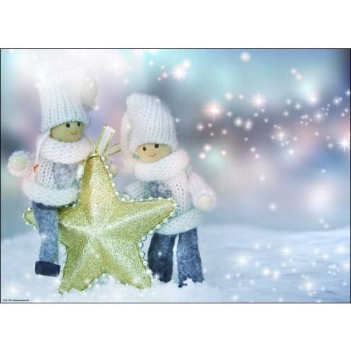 Weihnachtsmotiv mit Strickpüppchen, Stern und Glitzer - Tischset aus Papier 44 x 32 cm
