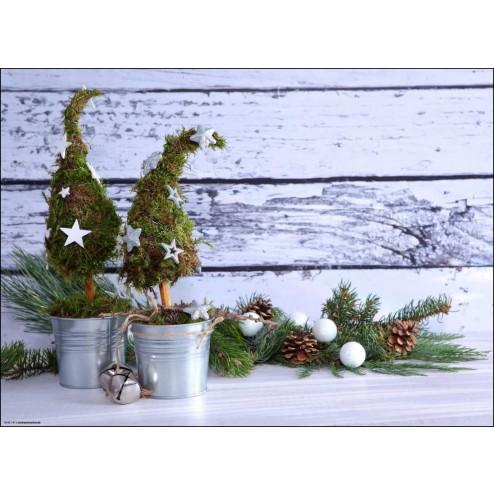 Weihnachtsmotiv mit Minibäumchen und Zweigen - Tischset aus Papier 44 x 32 cm