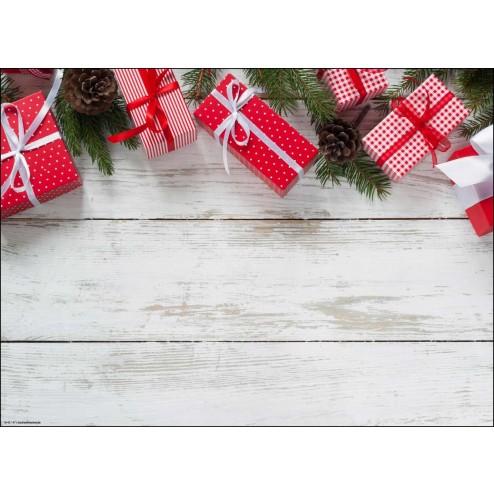 Rote Weihnachtspäckchen mit Schleifen und Tannenzweigen, 2. Variante - Tischset aus Papier 44 x 32 cm