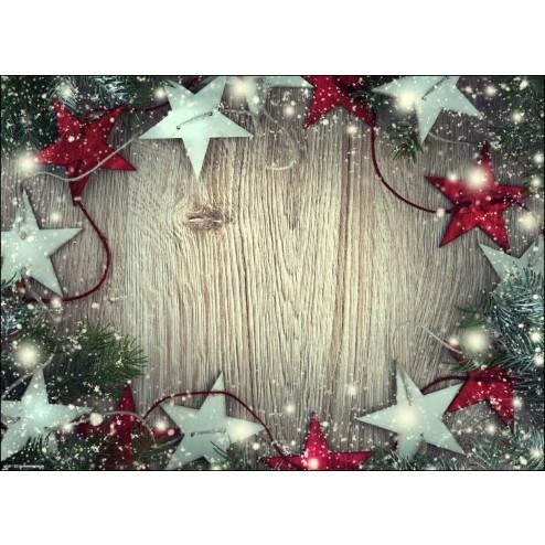 Weihnachtssterne in rot und Silber - Tischset aus Papier 44 x 32 cm