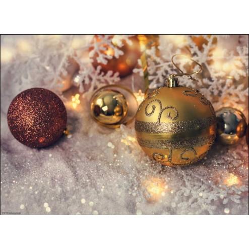 Weihnachtsmotiv Christbaumkugeln auf Glitzerschnee - Tischset aus Papier 44 x 32 cm