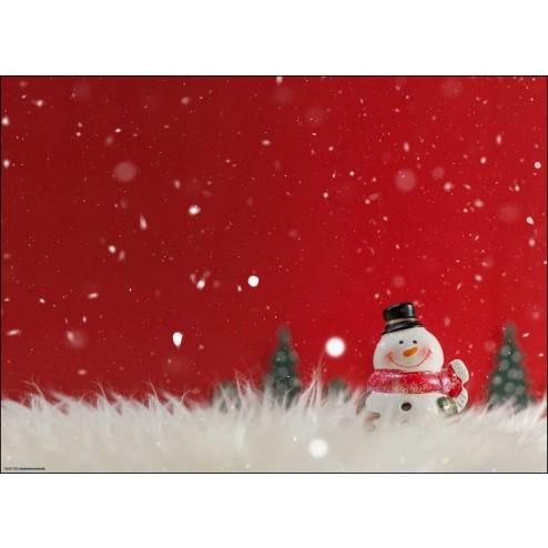 Fröhlicher Schneemann im Glitzerschnee - Tischset aus Papier 44 x 32 cm