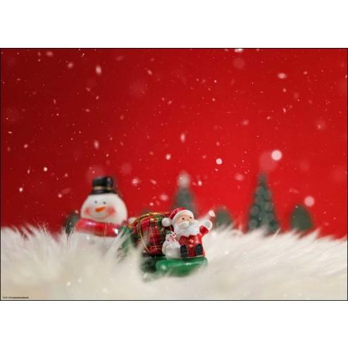 Weihnachtsmotiv Fröhlicher Schneemann mit Santa im Glitzerschnee - Tischset aus Papier 44 x 32 cm