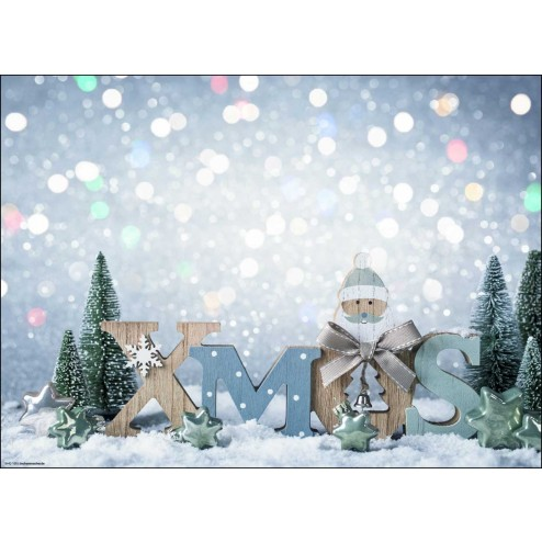 """""""XMAS"""" - Fröhlicher Santa aus Holz im Glitzerschnee - Tischset aus Papier 44 x 32 cm"""