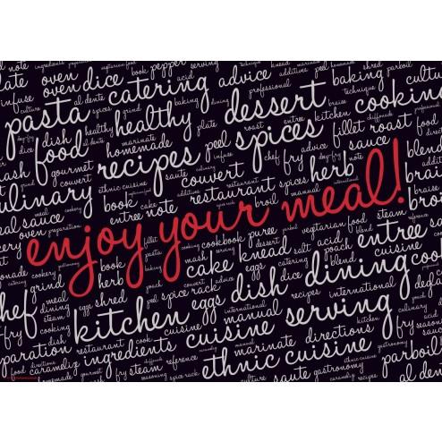 Enjoy your meal schwarz  - Tischset aus Papier 44 x 32 cm