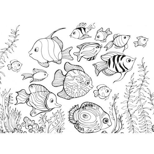 Fischschwarm - Tischset aus Papier 44 x 32 cm