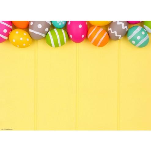 Bunte Eier auf gelbem Hintergrund - Tischset aus Papier 44 x 32 cm