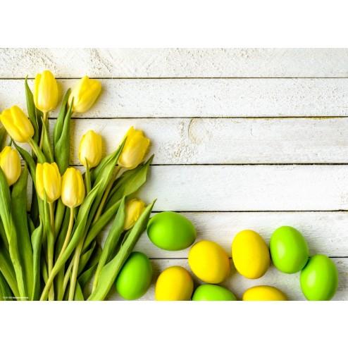 Ostereier in Gelb und Grün - Tischset aus Papier 44 x 32 cm
