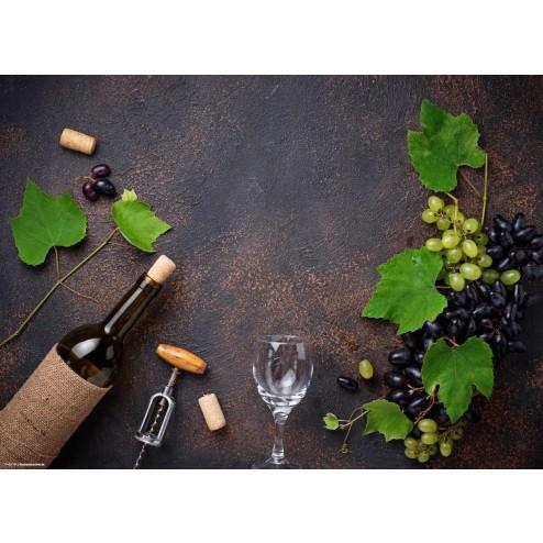 Weinflasche und Trauben - Tischset aus Papier 44 x 32 cm