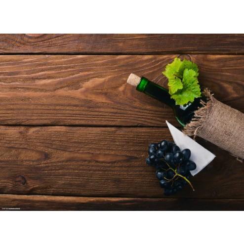 Weinflasche auf Holz - Tischset aus Papier 44 x 32 cm