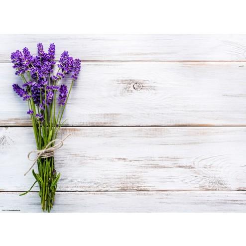 Lavendelstrauß auf Holz - Tischset aus Papier 44 x 32 cm