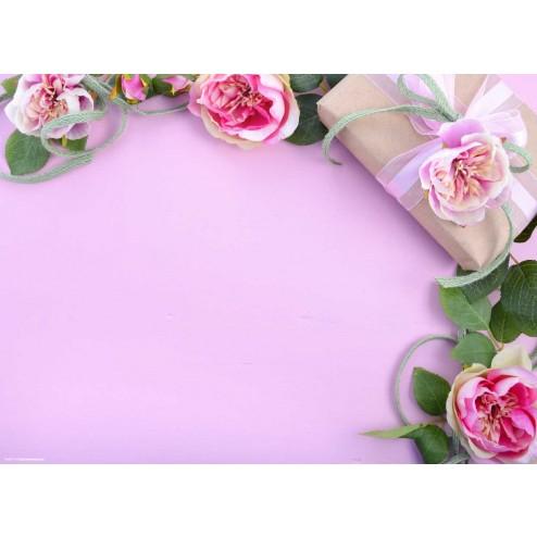 Blumen mit Päckchen - Tischset aus Papier 44 x 32 cm