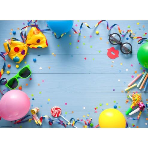Partydeko auf Blau - Tischset aus Papier 44 x 32 cm