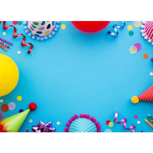 Partyhüte auf Blau - Tischset aus Papier 44 x 32 cm