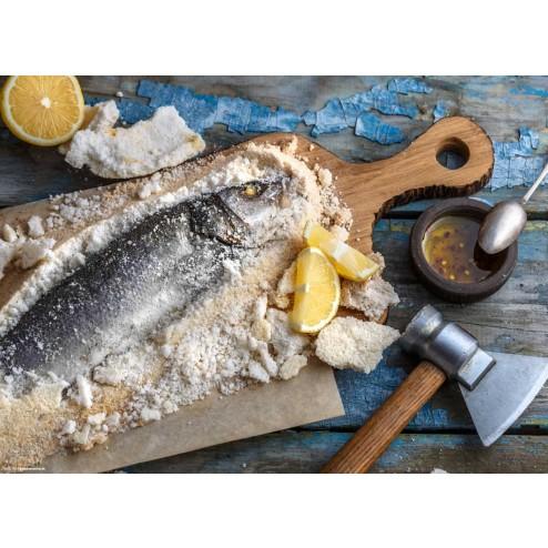 Fisch in Salz - Tischset aus Papier 44 x 32 cm