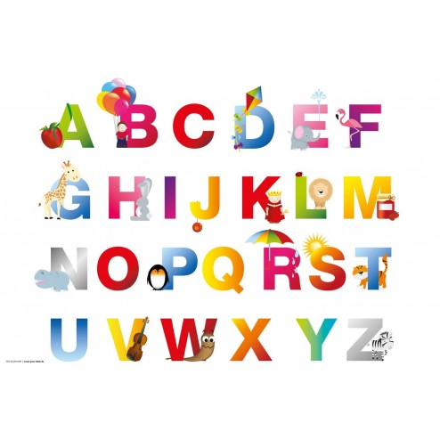 Tischset | Platzset - ABC - aus Papier - 44 x 32 cm
