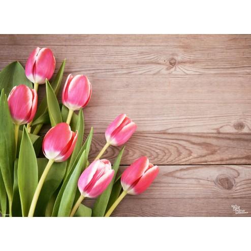 Rosa Tulpen - Tischset aus Papier 44 x 32 cm