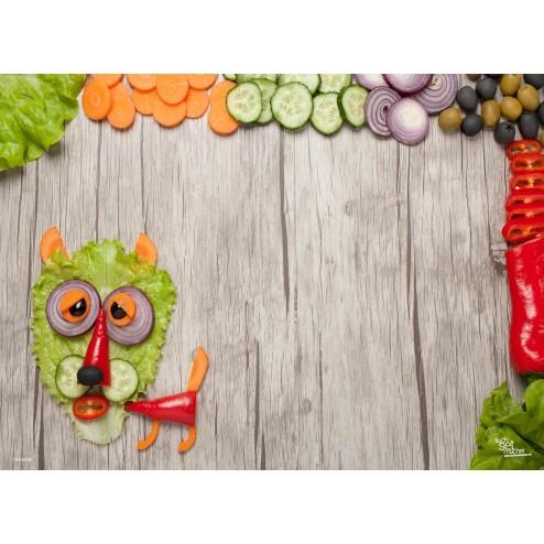 """Tischsets   Platzsets - Gesund & Frisch """"Vegetarischer Löwe """" aus Papier - 44 x 32 cm"""