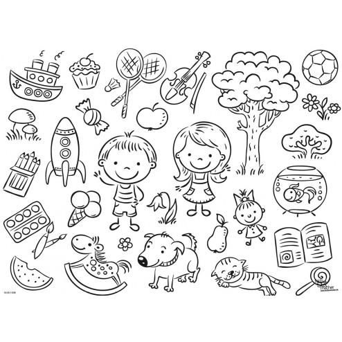 Tischset   Platzset - Winkende Kids zum Ausmalen - aus Papier - 44 x 32 cm