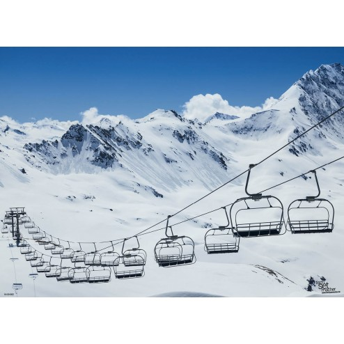 "Tischsets | Platzsets - Snow ""Skilift"" aus Papier - 44 x 32 cm"
