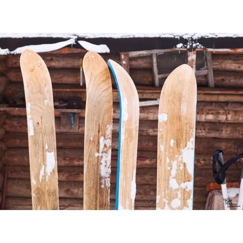 """Tischsets   Platzsets - Snow """"Ski vor Berghütte"""" aus Papier - 44 x 32 cm"""