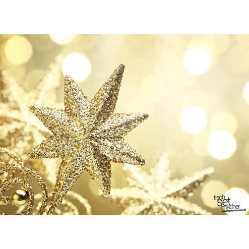 tischsets platzsets weihnachten goldener glitzerstern aus papier 44 x 32 cm. Black Bedroom Furniture Sets. Home Design Ideas