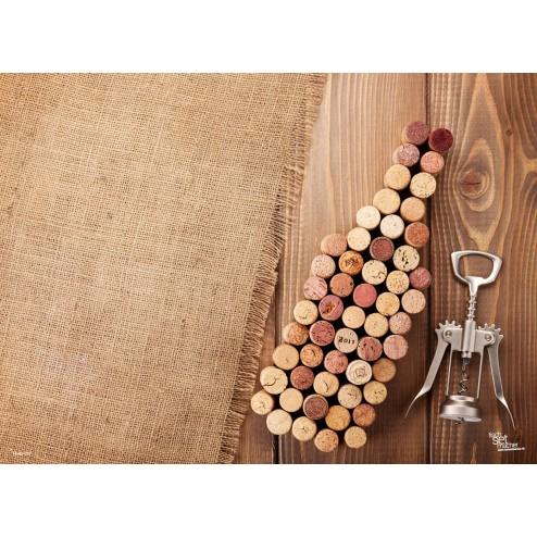 Tischset | Platzset - Weinflasche aus Korken - aus Papier - 44 x 32 cm