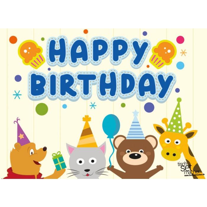 tischsets platzsets kindergeburtstag happy birthday aus papier 44 x 32 cm. Black Bedroom Furniture Sets. Home Design Ideas