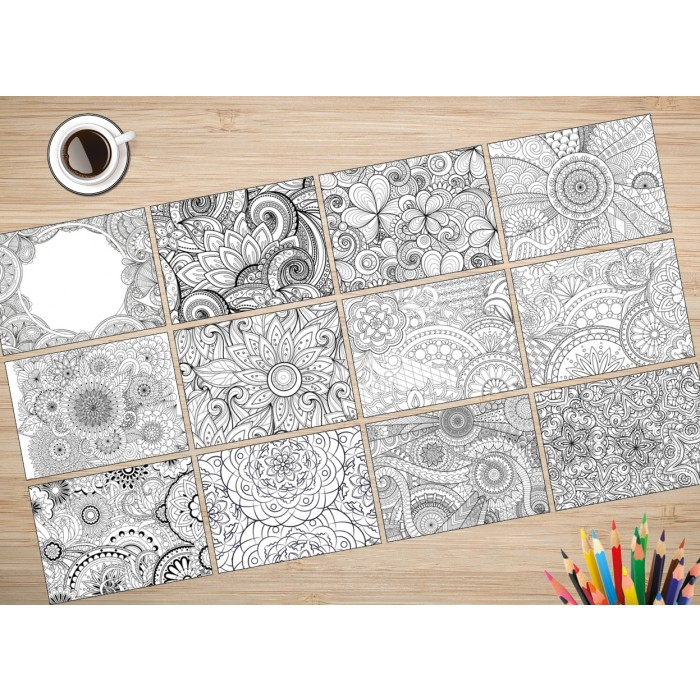 malvorlagen f r erwachsene tischsets platzsets komplettset mandala aus papier 44 x 32 cm. Black Bedroom Furniture Sets. Home Design Ideas