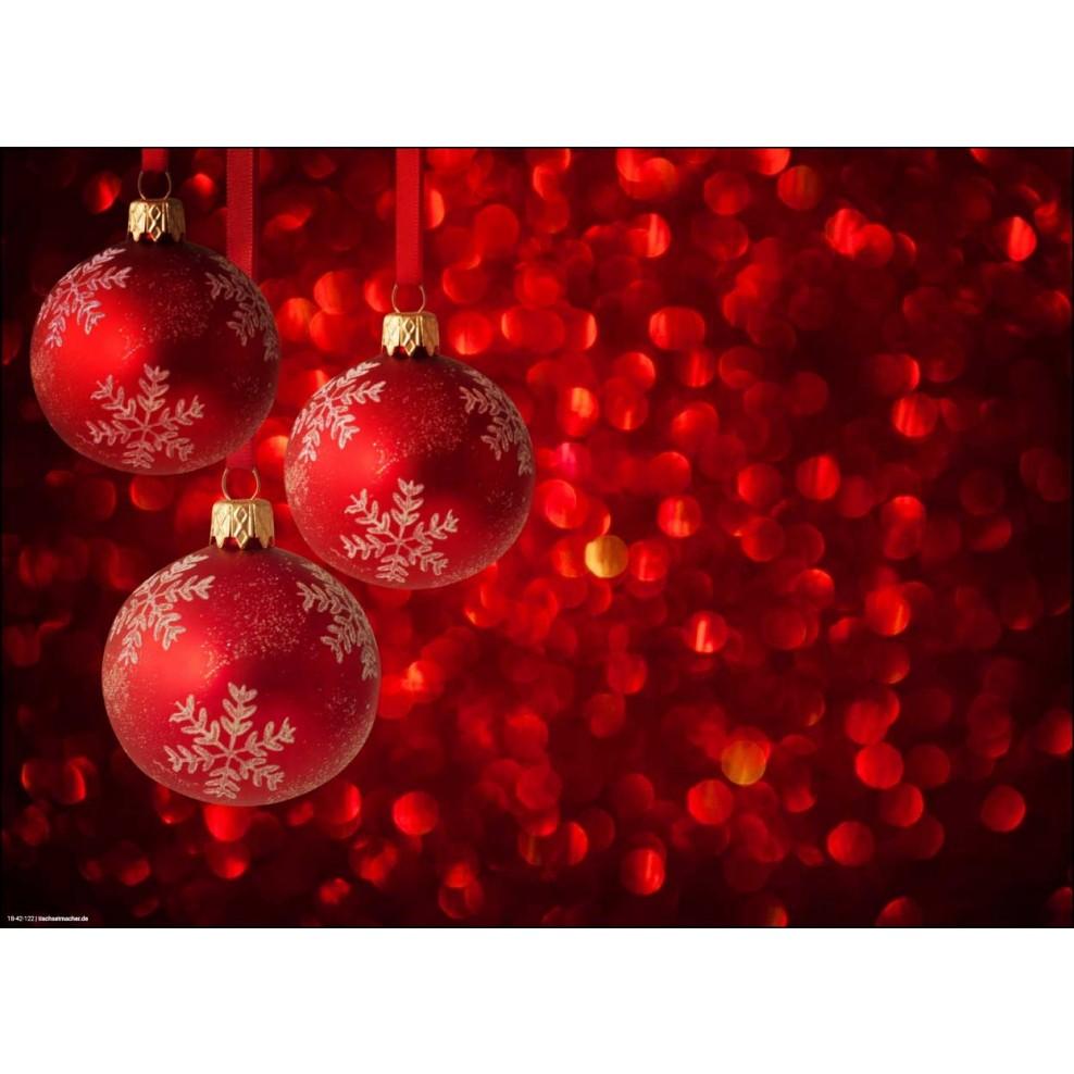Rote Christbaumkugeln.Tischset I Platzset Weihnachtsmotiv In Rot Weiss Mit