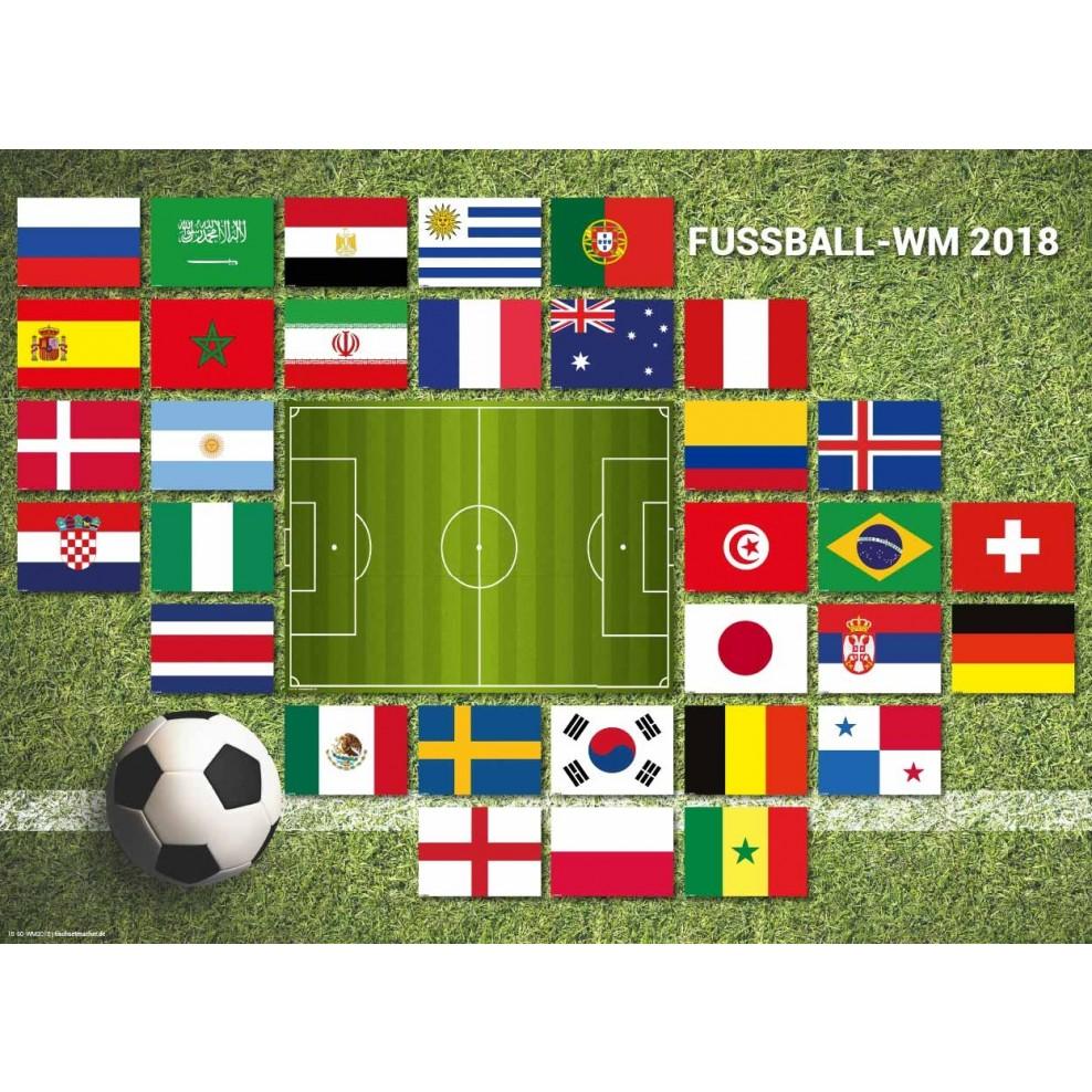 Tischset I Platzset Fussball Wm 2018 Alle Flaggen Aus Papier