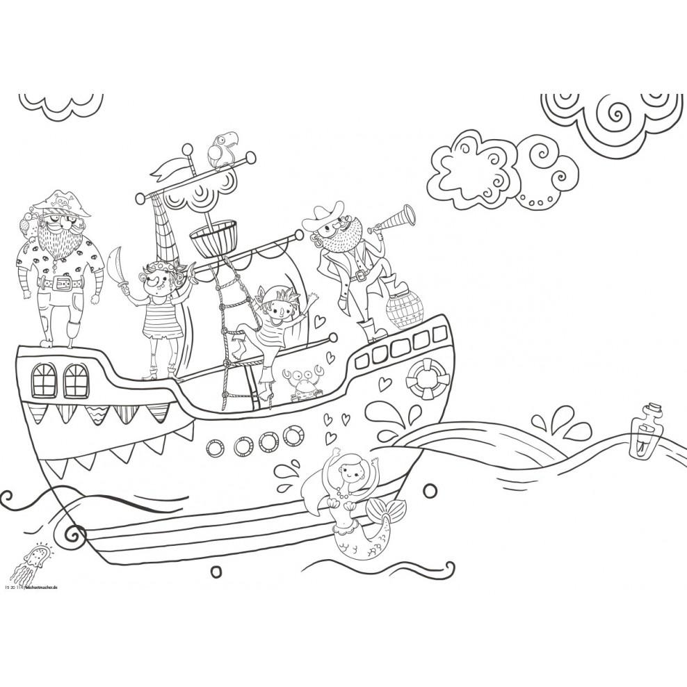 ausmalbild piratenschiff zeichnung