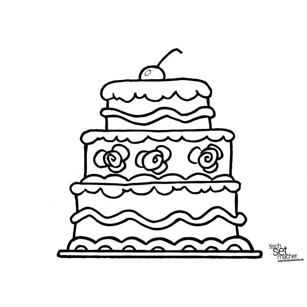 """Tischsets  Platzsets - Malvorlagen """"große Torte"""" aus Papier - 17"""